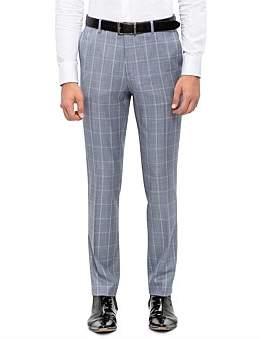 Sand Fl Fr Wool Windowpane Check Suit Trouser S191