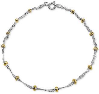 Giani Bernini Two-Tone Beaded Ankle Bracelet in Sterling Silver & 18k Gold-Plate