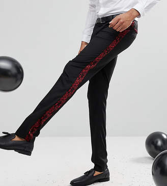 Asos Tall Skinny Tuxedo Suit Pants In Red Paisley Velvet