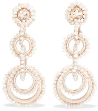 Mother of Pearl Bibi Marini - Sundrop Mother-of-pearl, Bead And Silk Earrings - Off-white