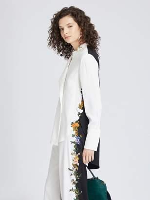 Oscar de la Renta Floral-Embroidered Stretch-Silk Georgette Blouse