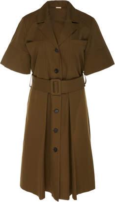 ADAM by Adam Lippes Box Pleat Buckle Waist Cotton Dress