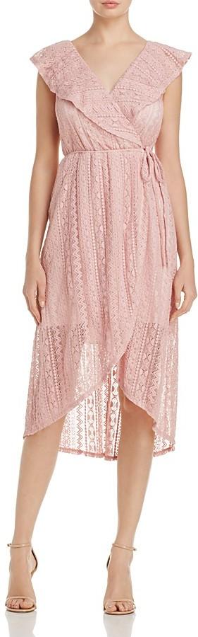 AQUA Lace & Ruffle Wrap Dress - 100% Exclusive