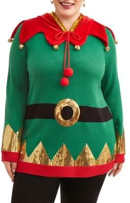 Holiday Time Women's Plus Elf Christmas Hoodie
