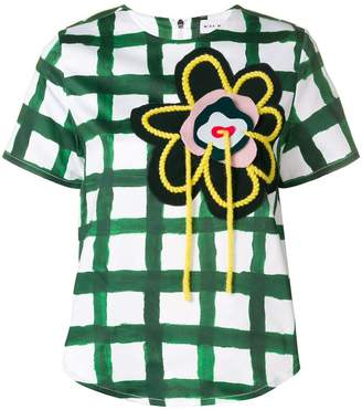 Mira Mikati hand embroidered flower patch scuba top