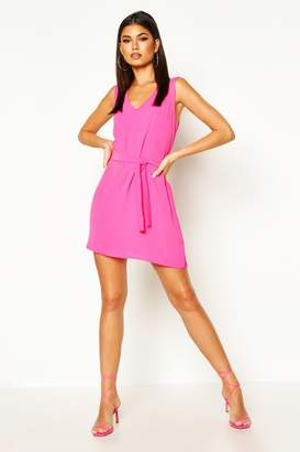 boohoo Tie Waist Woven Shift Dress
