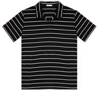 Onia Shaun Black Striped Slim-Fit Linen Polo