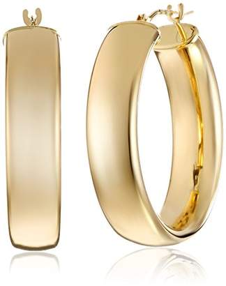 14k Yellow Polished Wedding Band Hoop Earrings