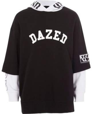 River Island Boys black 'dazed' T-shirt contrast hoodie