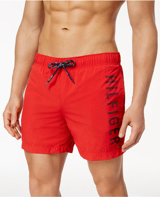 "Tommy Hilfiger Men's 5"" Inseam Logo Swim Trunks $69.50 thestylecure.com"