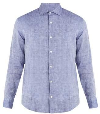 Frescobol Carioca - Point Collar Linen Shirt - Mens - Blue