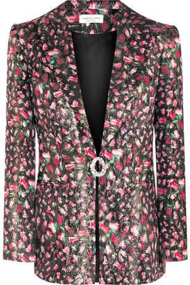 Raquel Diniz Eunice Crystal-embellished Floral-print Silk-lamé Blazer - Black