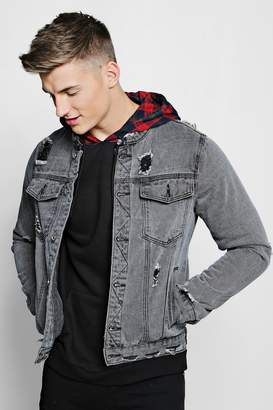 boohoo Dele Collarless Denim Jacket With Distressing