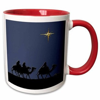 3dRose Three Wise Men to See Baby Jesus - Two Tone Red Mug, 11-ounce