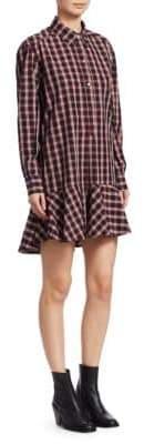 Etoile Isabel Marant Ondria Cotton Plaid Shirt Dress
