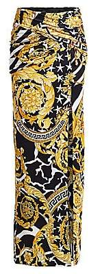 Versace Women's Savage Baroque Safety Pin Jersey Maxi Skirt