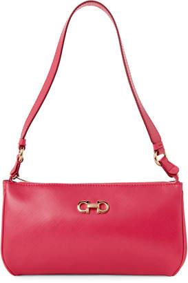 Salvatore Ferragamo Pink Double Gancini Leather Shoulder Bag