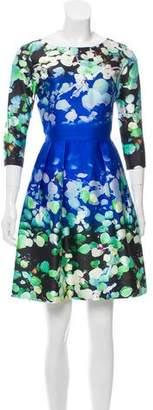 Oscar de la Renta Mini Floral Print Dress
