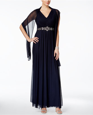 Jessica Howard Embellished A-Line Gown and Scarf $149 thestylecure.com
