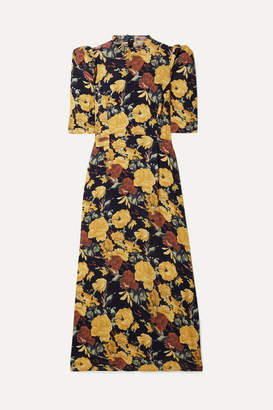 Sea Ella Ruffle-trimmed Floral-print Crepe Midi Dress - Yellow