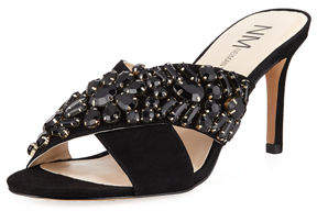 Neiman Marcus Vibe Jeweled Suede Mule