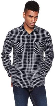 Blend of America Wood Paper Company Men's Long Sleeve Regular Fit 2-Pocket Cotton Poly Plaid Shirt