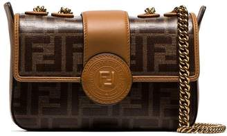 Fendi brown FF logo leather camera bag