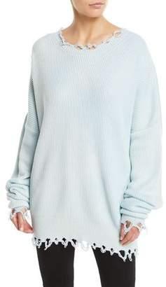 Unravel Crewneck Long-Sleeve Distressed Rib-Knit Sweater