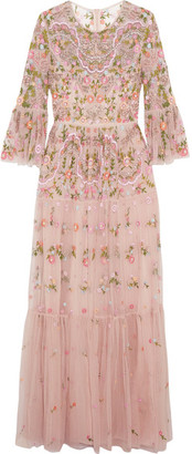 Needle & Thread - Dragonfly Embellished Embroidered Tulle Maxi Dress - Blush $750 thestylecure.com