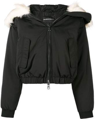 Emporio Armani padded faux fur hooded jacket