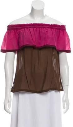 Gucci Silk Ruffle Blouse Pink Silk Ruffle Blouse