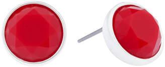 Liz Claiborne Red Stone Silver-Tone Stud Earrings