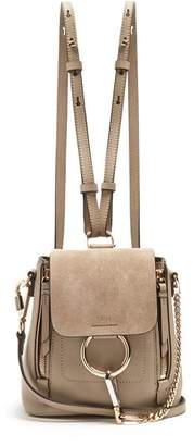 Chloé Faye Suede And Leather Mini Backpack - Womens - Grey