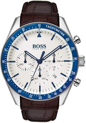 HUGO BOSS BOSS Men's Chronograph Trophy Brown Leather Strap Watch 44mm