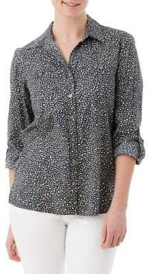 Olsen Casual Coast Animal-Print Roll-Tab Shirt