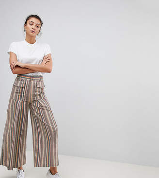 Asos Tall DESIGN Tall wide leg soft pants with pleats in stripe