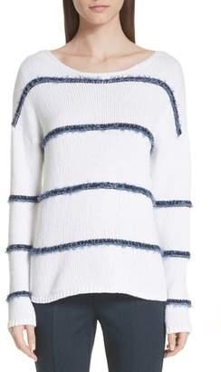 St. John Dropped Stripe Knit Sweater