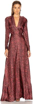 Victoria Beckham Deep V Neck Dress in Bordeaux | FWRD