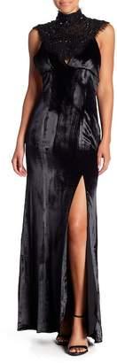 Haute Hippie Embellished V-Neck Maxi Dress