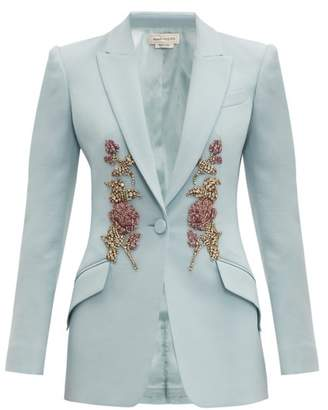 Alexander McQueen Embroidered Single Breasted Wool Blend Blazer - Womens - Light Blue