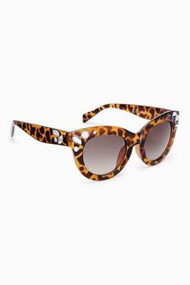 Next Womens Tortoiseshell Effect Jewelled Square Sunglasses