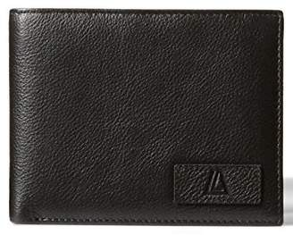 LEATHER ARCHITECT-Men's 100% Leather RFID Bi fold Wallet with back zip-Black/sapphire
