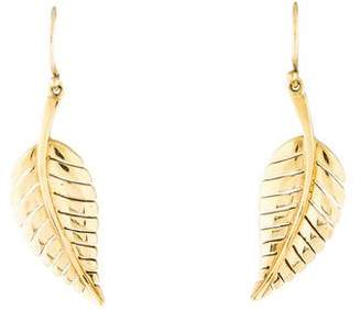 Jennifer Meyer 18K Gold Leaf Earrings