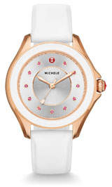 Cape White Silicone Strap Watch with Pink Topaz Dial Markers Rose Golden