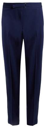 Stella McCartney Buckle Detail Wide Leg Wool Trousers - Womens - Blue