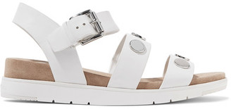 MICHAEL Michael Kors - Reggie Embellished Leather Sandals - White $135 thestylecure.com