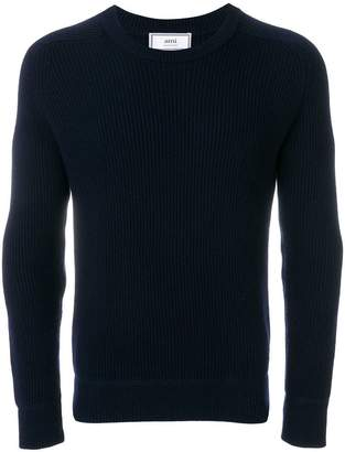 Ami Alexandre Mattiussi Crew Neck Elbow Patches Fisherman's Rib Sweater