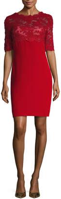 Reem Acra Chiffon Lace Embroidered Sheath Dress