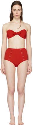 Lisa Marie Fernandez Red Seersucker Poppy Button Bikini