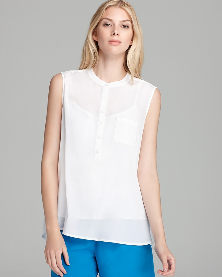 Sleeveless Band Collar Blouse